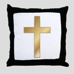 Truest Gold Cross Throw Pillow