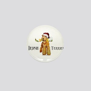 Irish Terrier Santa Mini Button