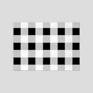 farmhouse black white plaid 5'x7'Area Rug
