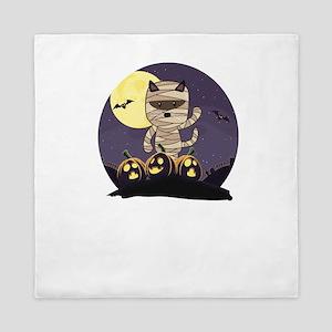 Mummy Cat Halloween Queen Duvet