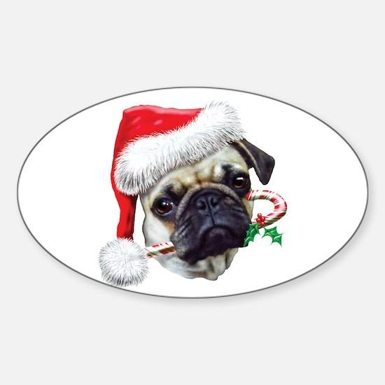 Pug Christmas Oval Decal