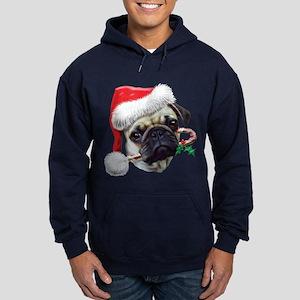 Pug Christmas Hoodie (dark)
