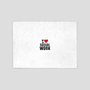 I Love Social Work 5'x7'Area Rug