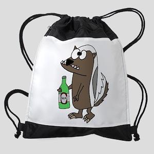 Cool Badger Drinking Beer Drawstring Bag