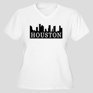 Houston Skyline Women's Plus Size V-Neck T-Shirt