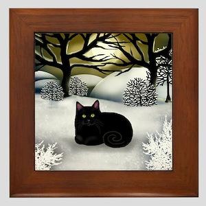 BLACK CAT WINTER SUNSET Framed Tile
