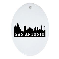 San Antonio Skyline Oval Ornament