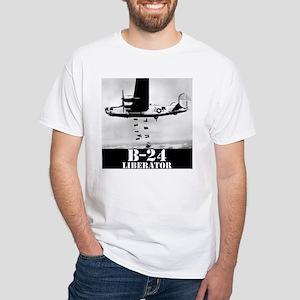 """B-24 """"Bombs away!"""" White T-Shirt"""