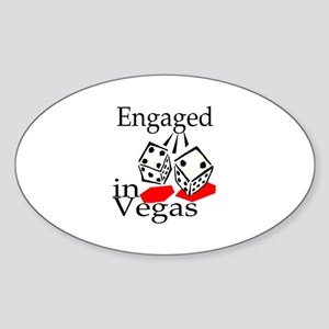 Engaged In Vegas Oval Sticker