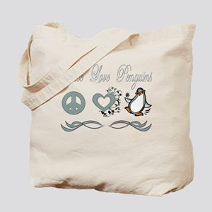 Peace Love Penguins Tote Bag