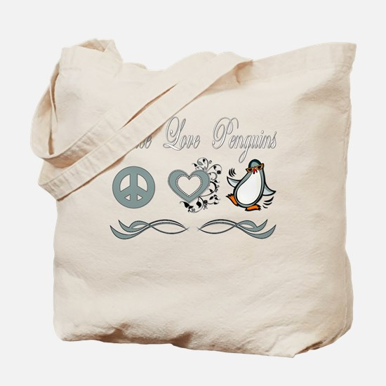 Peace Love Penguins Tote Bag