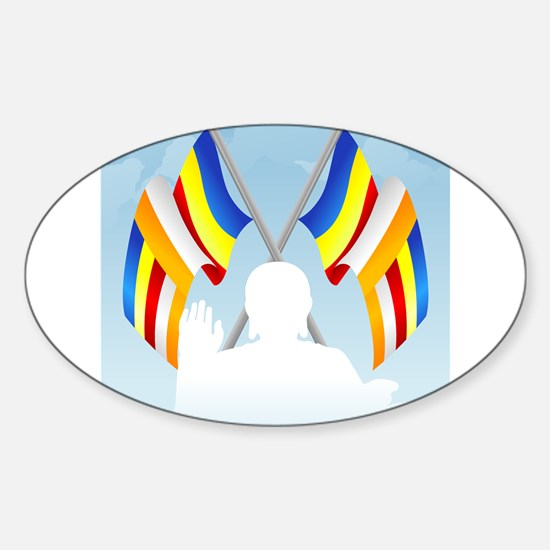 Buddha with flags Oval Decal