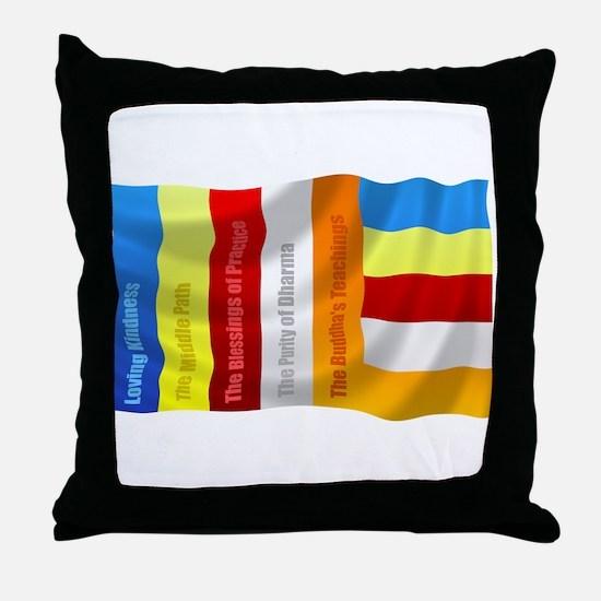 Buddhist Flag Throw Pillow