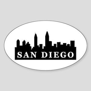 San Diego Skyline Oval Sticker