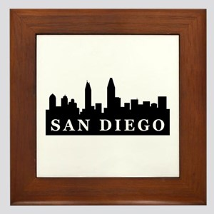 San Diego Skyline Framed Tile