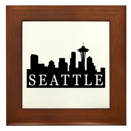 Seattle Skyline Framed Tile