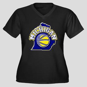 Michigan Basketball Women's Plus Size V-Neck Dark