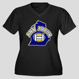 Ann Arbor Football Women's Plus Size V-Neck Dark T