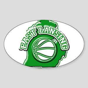 East Lansing Basketball Oval Sticker