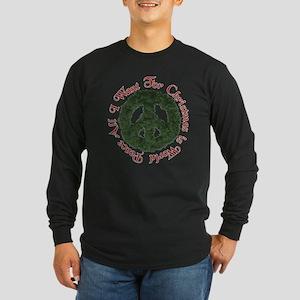 Christmas World Peace Long Sleeve Dark T-Shirt