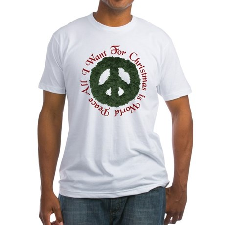 Christmas World Peace Fitted T-Shirt
