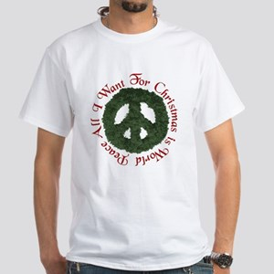 Christmas World Peace White T-Shirt