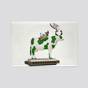 Grass Cow and Goats Rectangle Magnet