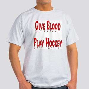 Give Blood Play Hockey Ash Grey T-Shirt