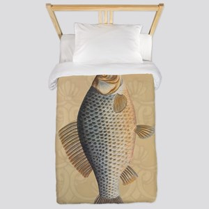 Vintage Fish Drawing Twin Duvet Cover