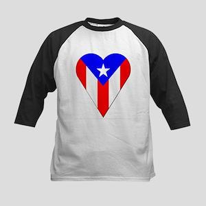 Puerto Rico Heart-Shaped Flag Kids Baseball Jersey