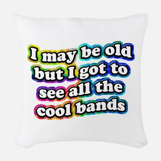 All The Cool Bands Woven Throw Pillow