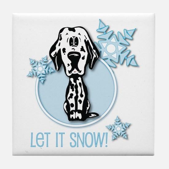 Let it Snow Dalmatian Tile Coaster