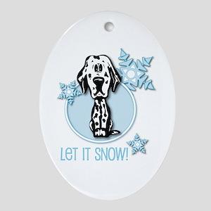 Let it Snow Dalmatian Oval Ornament