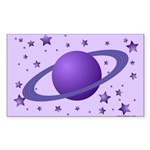 Planet with Stars Rectangle Sticker