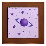 Planet with Stars Framed Tile