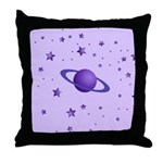 Planet with Stars Throw Pillow