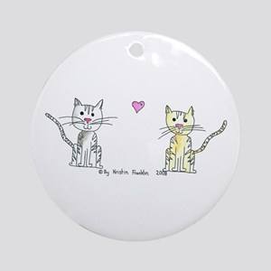 Two Cats in Love Ornament (Round)