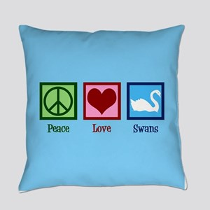 Peace Love Swans Everyday Pillow
