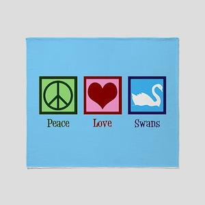 Peace Love Swans Throw Blanket