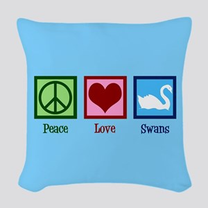 Peace Love Swans Woven Throw Pillow