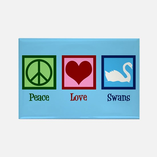 Peace Love Swans Rectangle Magnet