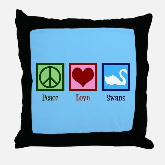 Peace Love Swans Throw Pillow