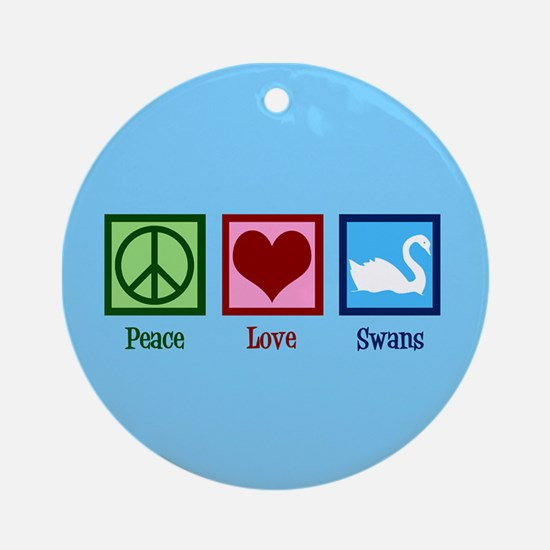 Peace Love Swans Round Ornament