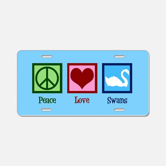 Peace Love Swans Aluminum License Plate