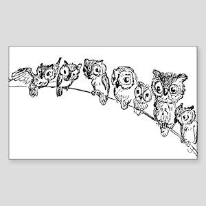 Owls in Tree Rectangle Sticker
