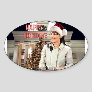 Happy Holidays Palin Oval Sticker