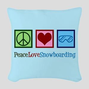 Cute Snowboarding Woven Throw Pillow