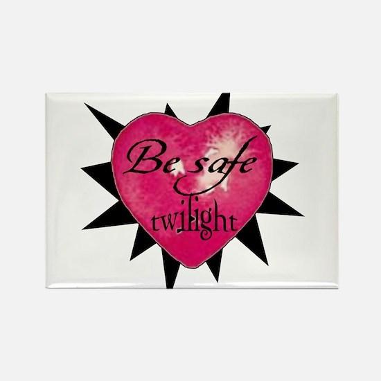 """""""Be safe"""" heart /blk Rectangle Magnet"""