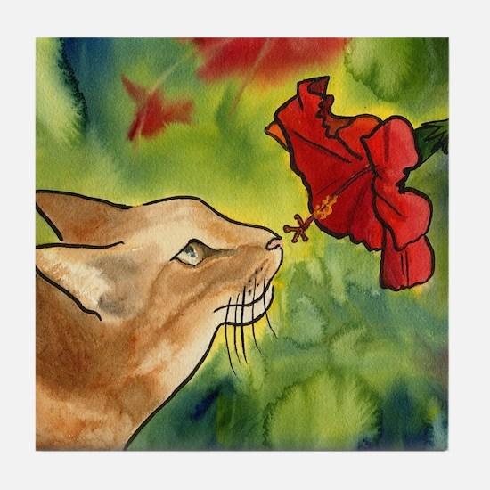 Hibiscus Cat Tile Coaster