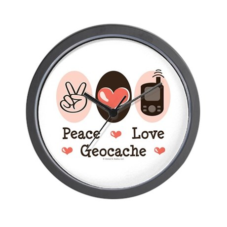 Peace Love Geocache Geocaching Wall Clock